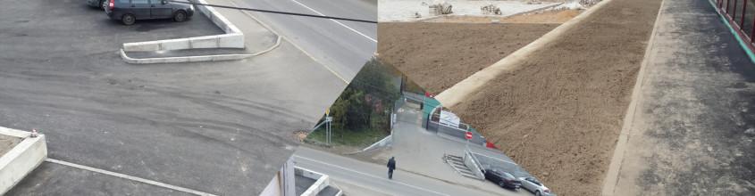 Благоустройство территории и устройство парковки торгового комплекса в посёлке Мурино ул Тихая 12